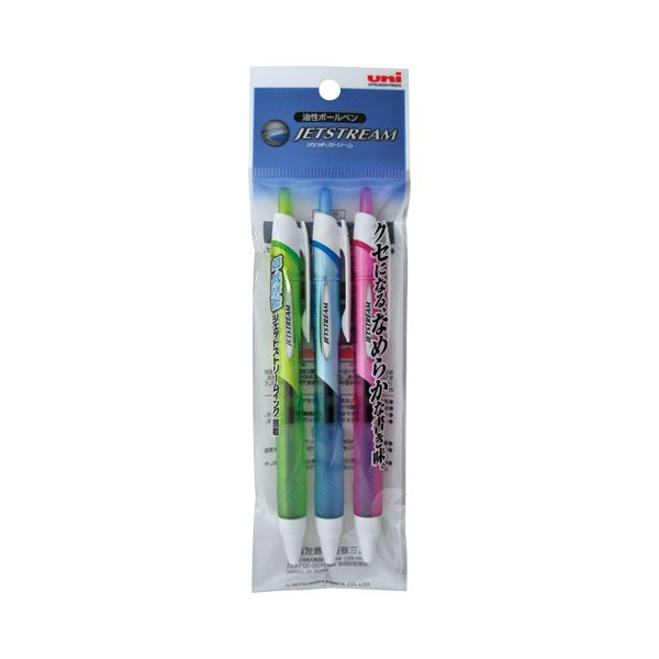 (まとめ) 三菱鉛筆 油性ボールペン ジェットストリーム 0.7mm 黒 カラー軸 アソート(3色各1本) SXN15007.3C 1パック 【×30セット】 送料無料!