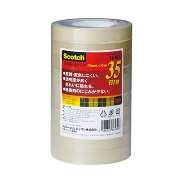 500-3-1535-10P (まとめ)3M スコッチ 透明粘着テープ15mm×35m 1セット(50巻:10巻×5パック)【×5セット】 送料無料!