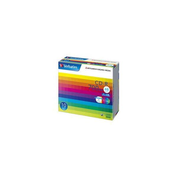 (まとめ)バーベイタム データ用CD-R700MB ワイドプリンタブル 5mmスリムケース SR80SP10V1C 1箱(100枚:10枚×10個)【×3セット】 送料無料!