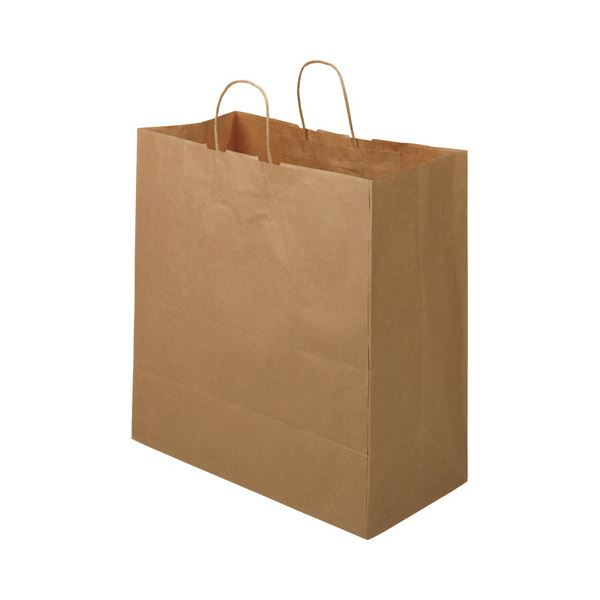 TANOSEE 紙手提袋 丸紐マチ広・特大 ヨコ430×タテ440×マチ幅210mm 茶無地 1セット(300枚:50枚×6パック) 送料無料!