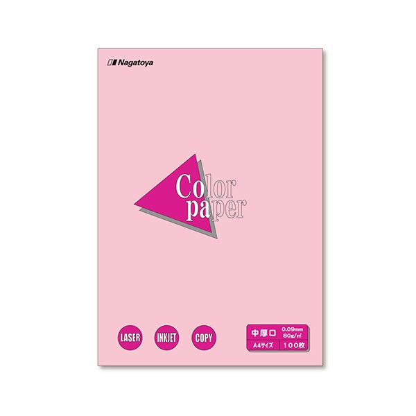 (まとめ) 長門屋商店 Color Paper A4 中厚口 桃 ナ-3221 1冊(100枚) 【×30セット】 送料無料!