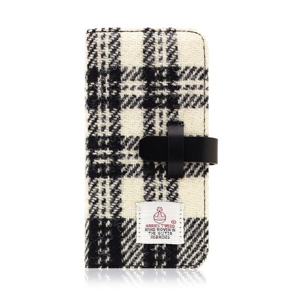 SLG Design iPhone 8/7 Harris Tweed Diary ホワイト×ブラック 送料無料!