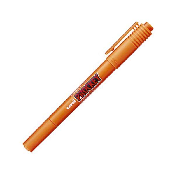 (まとめ) 三菱鉛筆 水性マーカー プロッキー 細字丸芯+極細 橙 PM120T.4 1本 【×100セット】 送料無料!