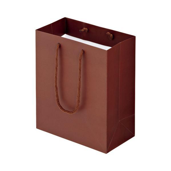 (まとめ) TANOSEE マットコート手提げ袋 S ヨコ220×タテ260×マチ幅120mm ブラウン 1パック(10枚) 【×10セット】 送料無料!