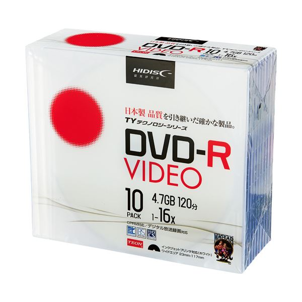 (まとめ) ハイディスク 録画用DVD-R 120分16倍速 ホワイトワイドプリンタブル 5mmスリムケース TYDR12JCP10SC 1パック(10枚) 【×10セット】 送料無料!