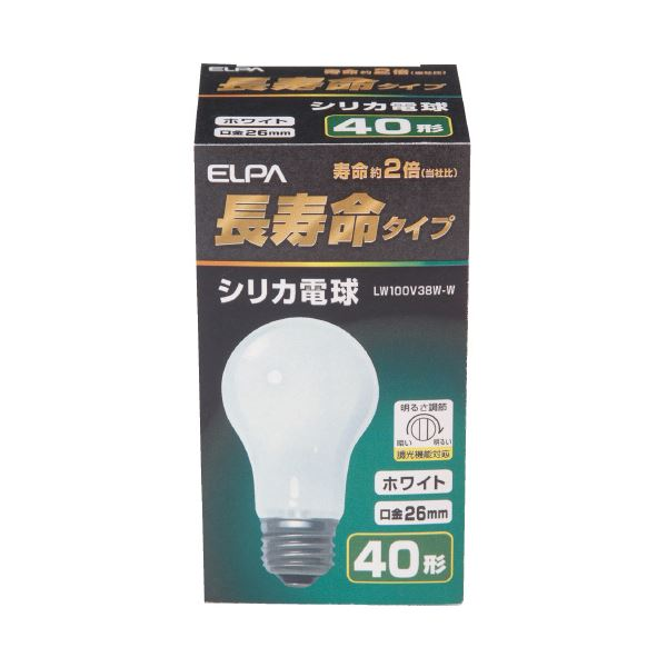 (まとめ)朝日電器 ELPA シリカ電球40形 LW100V38W 白(×100セット) 送料無料!