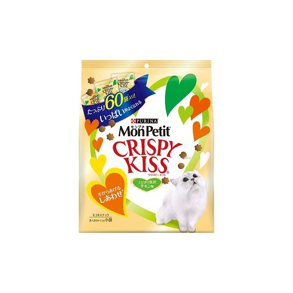 (まとめ)モンプチ クリスピーキッス 贅沢チキン味 180g (3g×60袋) (ペット用品・猫フード)【×12セット】 送料込!