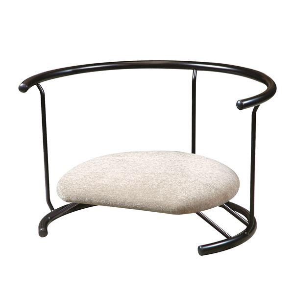 あぐら椅子/正座椅子 【背もたれ付き モスホワイト×ブラック】 幅60cm 耐荷重80kg 日本製 スチール 〔リビング〕【代引不可】 送料込!