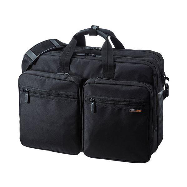 (まとめ)サンワサプライ3WAYビジネスバッグ(出張用・大型) 15.6インチワイド対応 ブラック BAG-3WAY22BK 1個【×3セット】 送料無料!