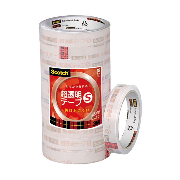 【×10セット】 送料無料! 3M 1パック(10巻) スコッチ 超透明テープS18mm×35m (まとめ) BK-18N