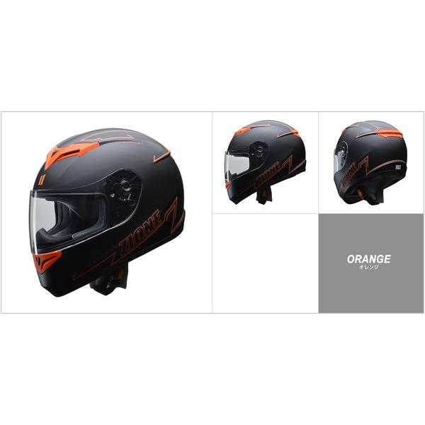 人気のマットブラック ZIONE(ジオーネ) フルフェイスヘルメット オレンジ LLサイズ 送料無料!