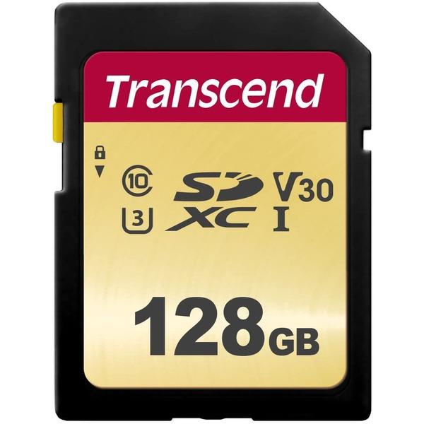 トランセンド128GB SDXCカードUHS-1 U3 激安価格と即納で通信販売 売却 V30 TS128GSDC500S MLC 送料込 CLASS10