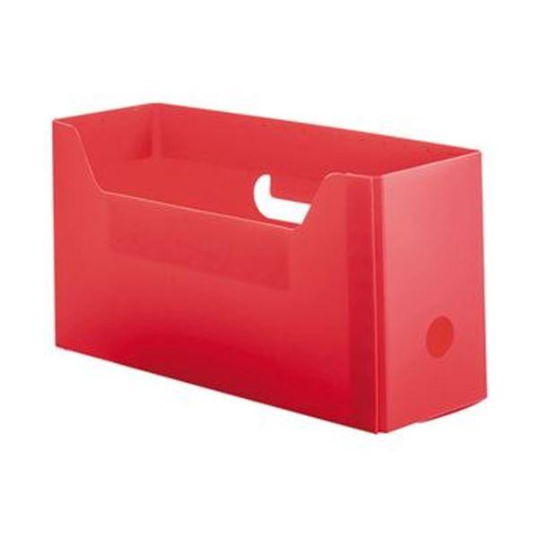 (まとめ)TANOSEE PP製ボックスファイル(組み立て式)A4ヨコ ショートサイズ レッド 1個【×50セット】 送料込!