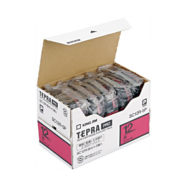 (まとめ)キングジム テプラ PRO テープカートリッジ パステル 12mm 赤/黒文字 SC12R-5P 1パック(5個)【×3セット】 送料無料!