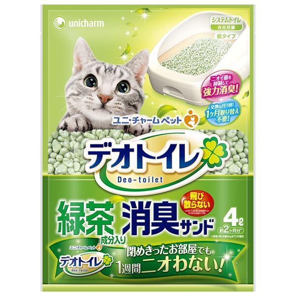 (まとめ)デオトイレ 飛び散らない緑茶成分入り消臭サンド 4L (ペット用品)【×8セット】 送料込!