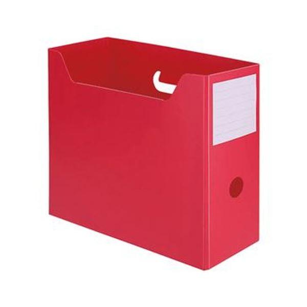 (まとめ)TANOSEE PP製ボックスファイル(組み立て式)A4ヨコ レッド 1セット(10個)【×5セット】 送料無料!