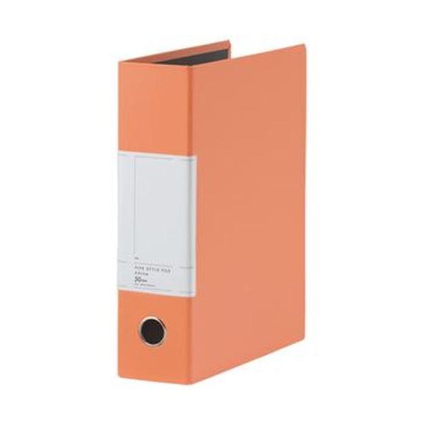 (まとめ)TANOSEE 両開きパイプ式ファイルSt A4タテ 500枚収容 50mmとじ 背幅77mm オレンジ 1セット(10冊)【×3セット】 送料無料!