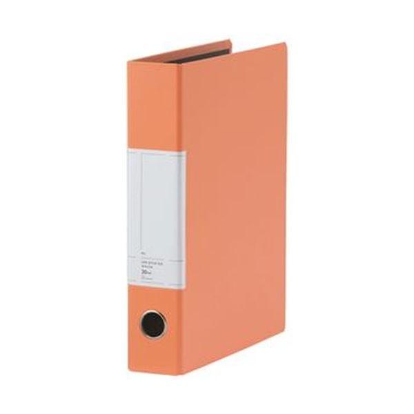 (まとめ)TANOSEE 両開きパイプ式ファイルSt A4タテ 300枚収容 30mmとじ 背幅57mm オレンジ 1セット(10冊)【×3セット】 送料無料!