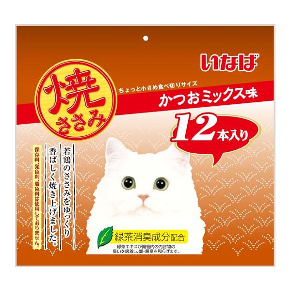 (まとめ)いなば 焼ささみ かつおミックス味 12本入り (ペット用品・猫フード)【×12セット】 送料無料!