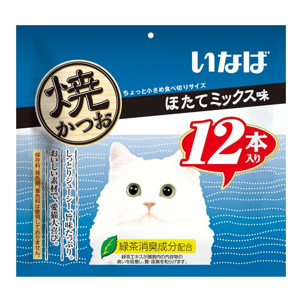 (まとめ)いなば 焼かつお ほたてミックス味 12本 (ペット用品・猫フード)【×12セット】 送料無料!