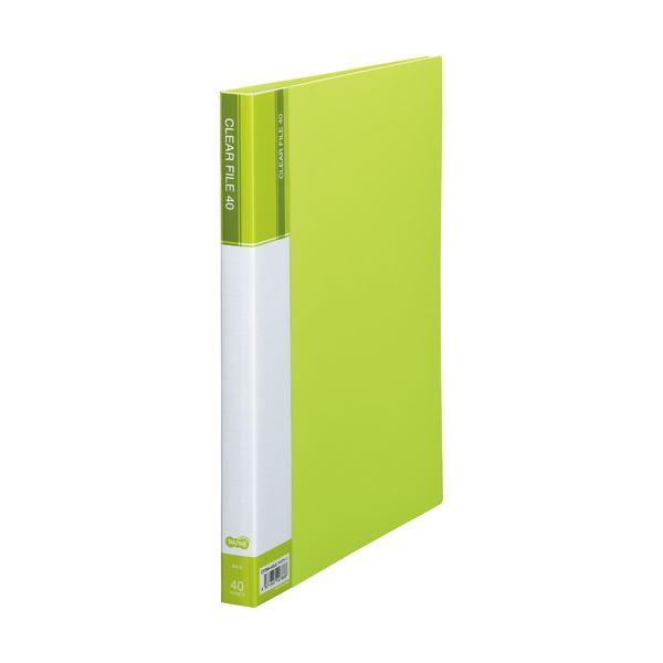 (まとめ) TANOSEE クリヤーファイル(台紙入) A4タテ 40ポケット 背幅23mm ライトグリーン 1セット(8冊) 【×5セット】 送料無料!