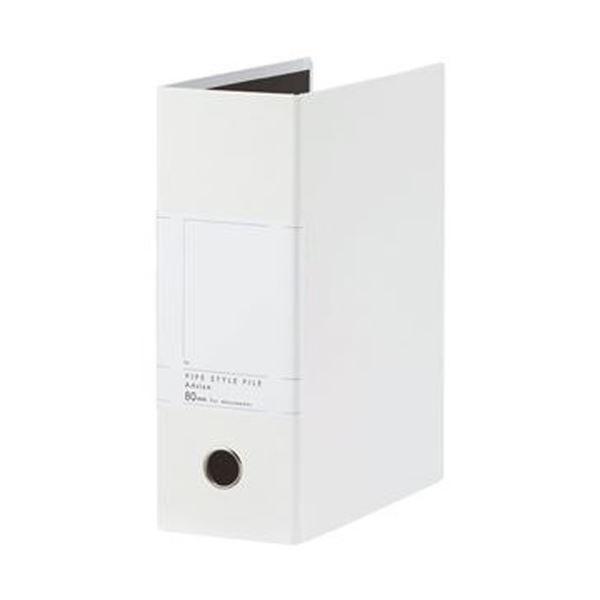 (まとめ)TANOSEE 両開きパイプ式ファイルSt A4タテ 800枚収容 80mmとじ 背幅107mm ホワイト 1冊【×20セット】 送料無料!