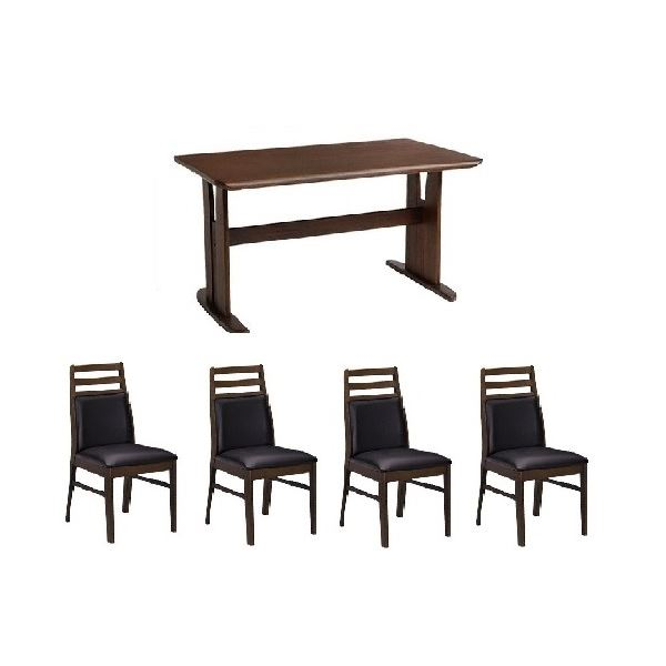 ダイニングセット テーブル チェア PVC 木製 5点セット 肘なしチェア×4脚セット ダークブラウン 人気 ダイニングテーブル1台 代引不可 並行輸入品 ブラッシング加工 送料込