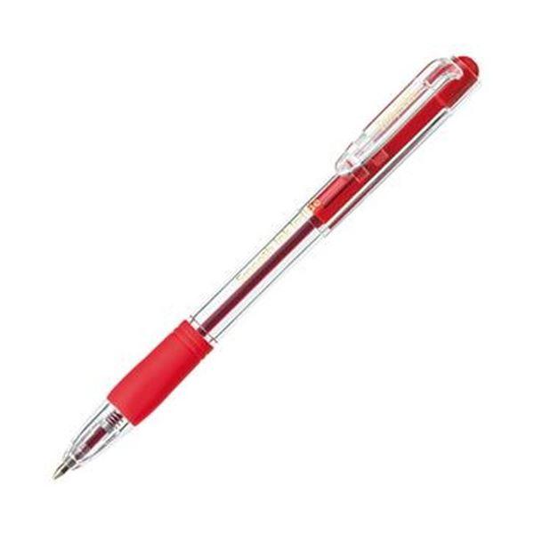 (まとめ)TANOSEE ノック式なめらかインク油性ボールペン グリップ付 0.7mm 赤(軸色:クリア)1セット(100本:10本×10パック)【×3セット】 送料無料!