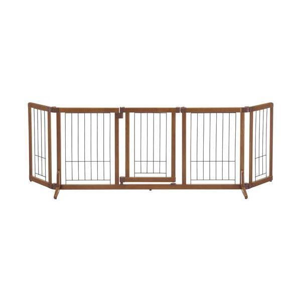 犬用 ペットゲート/ペット用品 【Lサイズ】 幅140~183cm ブラウン 木製 おくだけドア付きゲート 『リッチェル』 送料込!
