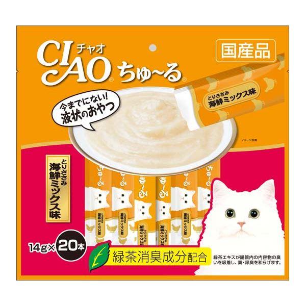 (まとめ)CIAO ちゅ~る とりささみ 海鮮ミックス味 14g×20本 (ペット用品・猫フード)【×16セット】 送料無料!