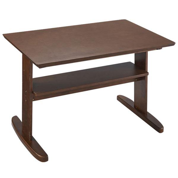 省スペース リビングダイニング テーブル 【ブラウン】 90×65×60cm 木製 棚板付き 〔リビング ダイニング〕 送料込!