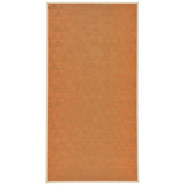 国産い草 ラグマット/絨毯 【約87×174cm あかね】 日本製 裏貼り仕様 防滑加工 縁:綿100% 『はぐくみ』 〔リビング〕【代引不可】 送料込!
