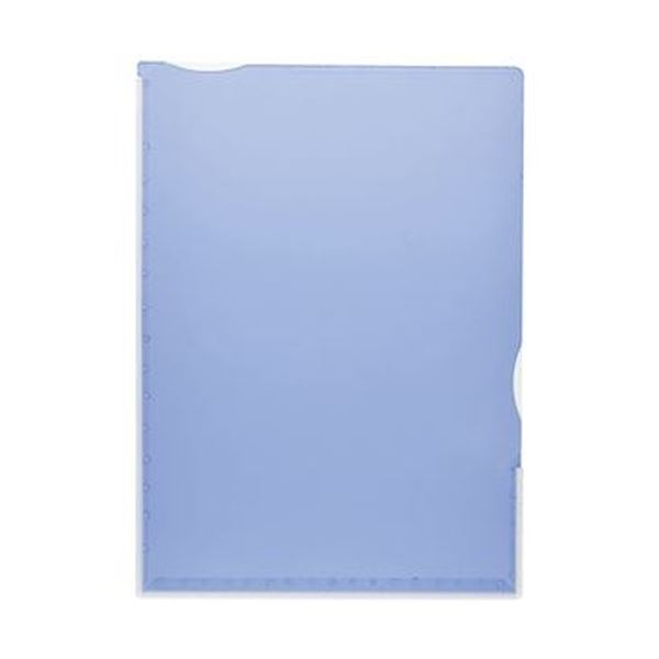 (まとめ)TANOSEE 超丈夫なマチ付クリアホルダー タフレル A4タテ ブルー 1パック(5枚)【×20セット】 送料無料!