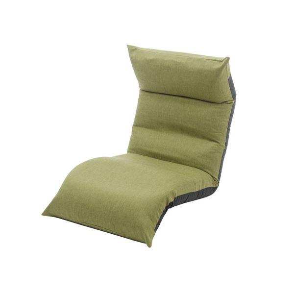リクライニング フロアチェア/座椅子 【グリーン】 幅54cm 日本製 折りたたみ収納可 スチールパイプ ウレタン 〔リビング〕【代引不可】 送料込!