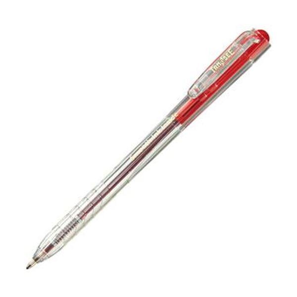 (まとめ)TANOSEE ノック式なめらかインク油性ボールペン 0.7mm 赤(軸色:クリア)1セット(100本:10本×10パック)【×5セット】 送料無料!