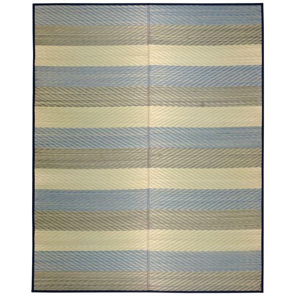 国産い草 ラグマット/絨毯 【約191×250cm ブルー】 日本製 裏貼り仕様 防滑加工 縁:綿100% 『レーヴ』 〔リビング〕【代引不可】 送料込!