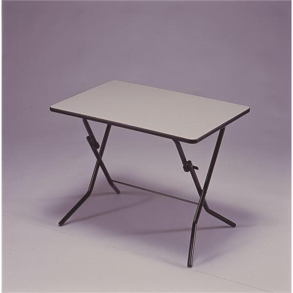 折りたたみテーブル 【幅90cm ニューグレー×ブラック】 日本製 スチールパイプ 『スタンドタッチテーブル』【代引不可】 送料込!