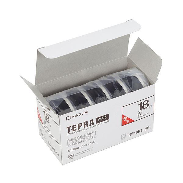 (まとめ)キングジム テプラ PRO テープカートリッジ ロングタイプ 18mm 白/黒文字 SS18KL-5P 1パック(5個)【×3セット】 送料無料!