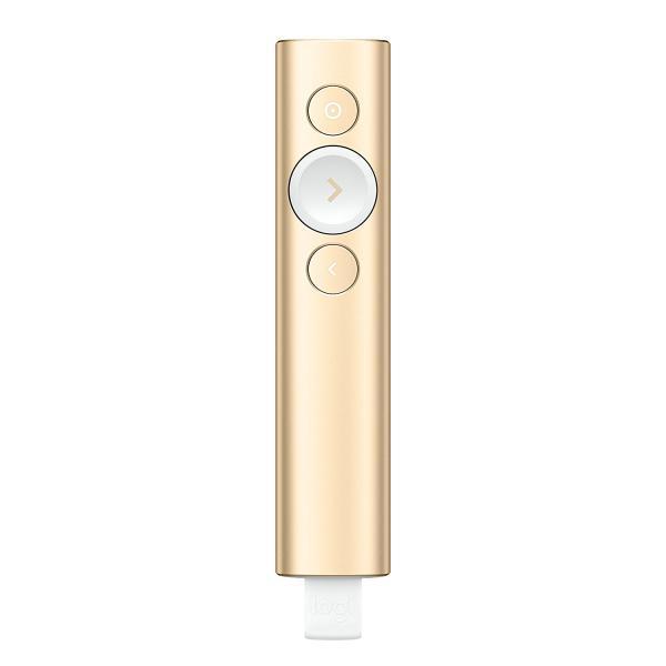 ロジクール 2.4GHzワイヤレス/Bluetooth Smart接続対応 プレゼンテーション リモート 「Spotlight(スポットライト)」 ゴールド(R1000GD)