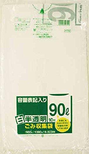※サニパック HT92容量表記入り白半透明ゴミ袋90L 10枚 セール商品 爆売りセール開催中 5258 3754642 HT92HCL