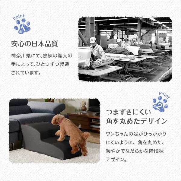 日本製ドッグステップPVCレザー、犬用階段4段タイプ【lonis-レーニス-】 ブラック【代引不可】 送料込!