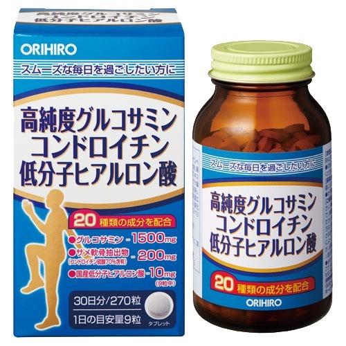 高純度グルコサミン コンドロイチン 低分子ヒアルロン酸 300mg グルコサミン+コンドロイチン オリヒロ サプリメント 270粒 日本正規代理店品 価格 交渉 送料無料