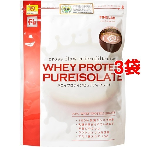 【送料込!】ファインラボ ホエイプロテイン ピュアアイソレート ミルクココア風味 1kg*3コセット 【※送料込の価格です。】