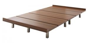 デザインボードベッド Catalpa キャタルパ ベッドフレームのみ スチール脚タイプ セミシングル ショート丈 ウォルナットブラウン