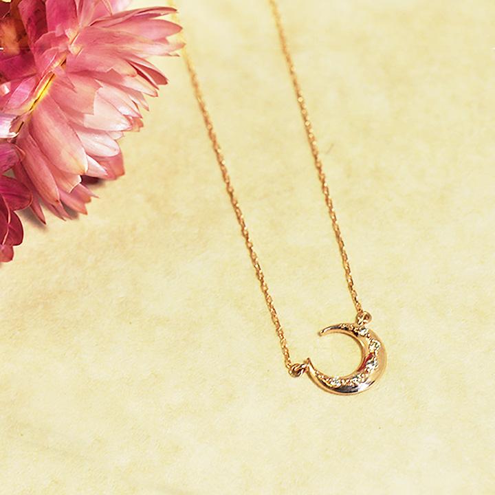 【受注生産】10金 ダイヤモンド ネックレス K10 10k 10金ピンクゴールド ムーンネックレス ネックレス レディース AM-51274 三日月 華奢 シンプル 女性 プレゼント レディース かわいい 誕生日 プレゼント 誕生日プレゼント