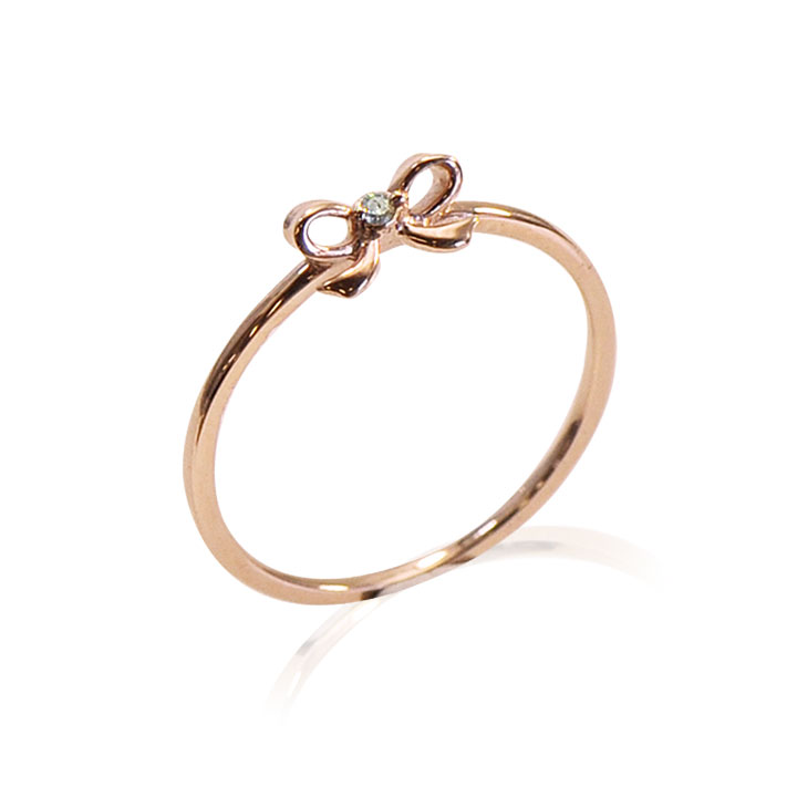 【送料無料】K10 ピンクゴールド ダイヤモンド リボンモチーフリング Lovers & Ring ラバーズリング リング レディース 指輪 重ね付け 10金 K10 ピンクゴールド ダイヤモンド LSR6002DPK 普段使い