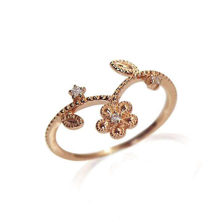 【送料無料】【大島優子さん贈呈モデル】 10金ピンクゴールド ダイヤモンド フラワーリング Lovers&Ring ラバーズリング リング レディース 指輪 重ね付け 10金 K10 ピンクゴールド LSR6004DPK