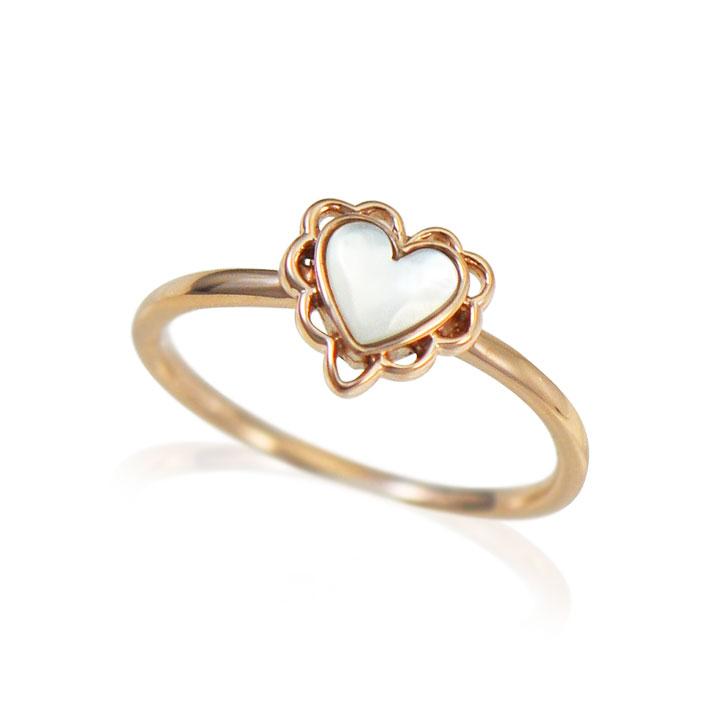 【送料無料】K10 ピンクゴールド シェルハートリング Lovers&Ring ラバーズリング リング レディース 指輪 重ね付け 10金 K10 ピンクゴールド 白蝶貝 シェル LSR6007PK 普段使い