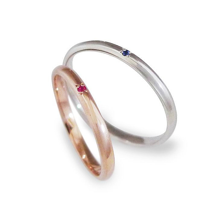 【刻印無料】ピンクゴールド&ホワイトゴールドK10ペアリング LSR0658RPKHN-SWG Lovers & Ring ラバーズリング ペアリング ペア 指輪 ルビー サファイア プレゼント リング ジュエリー ギフト 刻印可能 普段使い