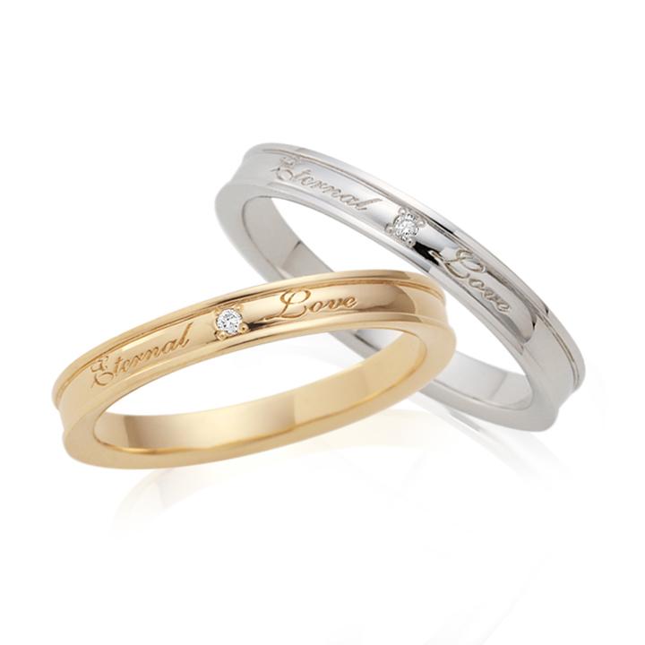 【刻印無料】【ペア】Lovers&Ring ラバーズリング ピンクゴールド&ホワイトゴールド 10金ペアリング LSR0670DPK-DWG ペアリング 指輪 ダイヤモンド 普段使い リング 天然石 ダイヤ ギフト レディース 】普段使い
